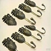 8 Small Pineapple Brass Hook Coat Wall Mounted Hang Tropical Vintage Style Hookb