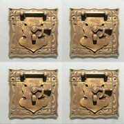 4 Box Latch Catch Solid Brass Furniture Antiques Doors Kitchen Old Style 3 B