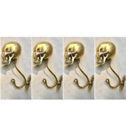 4 Large Skull Hooks Polished Hollow Real Brass Old Style Day The Dead 6 Long B