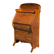Antique Victorian Quartersawn Oak Drop Front Secretary Writing Desk By Larkin