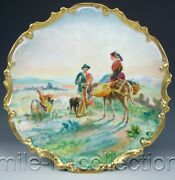 Limoges France Hand Painted Friendly Residents Of The Prairie Charger