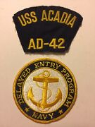 U.s.s. Acadia Ad-42 Destroyer Vintage Military Uniform Patches The Love Boat