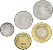 India Set Of 5 Coins 2008-2009 Unc 50 Paisa, 1, 2, 5, 10 Rupees