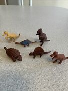 Vintage Marx Mpc 7 Pc Brown Red And Tan Dinosaur Lot Nice Shape