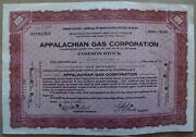 Temporary Stock Certificate Appalachian Gas Corporation 1930 100 Shares W/ Stamp