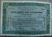 Temporary Stock Certificate Appalachian Gas Corporation 1930 Back W/stamps Green