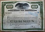 Stock Certificate Appalachian Gas Corporation 1931. Back With Documents