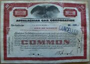 Stock Certificate Appalachian Gas Corporation 1932 W/documents Brown 100 Shares