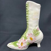 Vintage Cash Family Hand Painted Flowers Victorian Boot Vase Planter Erwin Tn