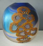 Amazing Heavy Art Glass Peacock Square Vase 10.5 Tall Signed Rare