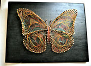 Vintage Nail Wire String Art Copper Butterfly Multi-color Wire