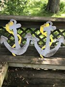 Pair Of Vintage Painted Wood Nautical Anchor Signs Boat Anchors Gas Oil Soda