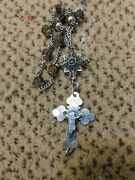 Antique Early 1800s German Bavarian Carved Horn Sterling 800 Silver Rosary