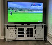 84 Rustic White Tv Cabinet Wall Unit With Sliding Barn Doors