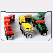 12x Small Magnetic Wooden Train Set Train Track Accessories Birthday Gifts