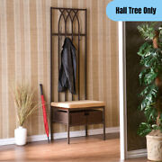 Traditional Metal Hall Tree Bench W/ Basket Coat Hooks Rack Cushioned Seat Brown
