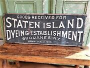 Early Original Wooden Staten Island Dyeing Establishment Double Side Adv Sign
