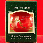 Hallmark Ornament And Box 1987 Time For Friends 3 Teardrop Glass Xmas Mouse Decor