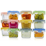 Glass Baby Food Storage Containers With Lids | Set Of 12 | 5 Oz Glass Food | | |