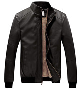 Wenven Men's Stand Collar Fleece Lined Bomber Faux Leather Jacket Size Medium
