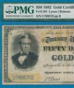 50. Fr.1193 Rare 1882 Gold Seal Gold Certificate Pmg F15 Comment