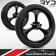 Amp Blackline 23 Front And Rear Wheels Tires Package 13 Rotor 09-19 Bagger
