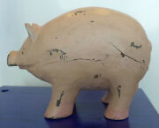Hand Carved And Painted Primitive Wood Pig Sculpture Antique Model