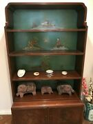 Antique Asian Art Deco 1930and039s Book/display Cabinet