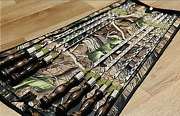 Set Grill Of 7 Stainless Skewer Cover Barbecue Grill Bbq Tools Bbq Skewers Flat