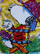 Tom Everhart Tea At The Bel Air Beagle Club -300 Pm Snoopy Peanuts Hand Signed