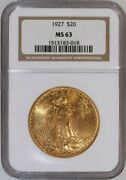 1927 Saint-gaudens 20 Dollar Gold Double Eagle Certified Ngc Ms-63