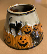 Yankee Halloween Pumpkin And Black Cat Candle Shade Topper 4 3/4