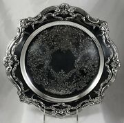 Vintage Early Gorham Chantilly Ep Silverplate On Brass Round Chased Tray Waiter