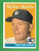 1958 Topps 150 Mickey Mantle Ex+ 5.5 New York Yankees Old Baseball Card