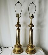 Vintage Stiffel Brass Table Lamps Lot Of 2 Mcm Column Lamp Set Tested