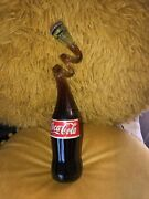 Rare Vintage Twisted Coca-cola Glass Bottle Unopened And Full Coke
