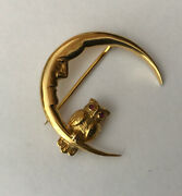 Vintage Hallmarked 9ct 9k Yellow Gold Man In The Moon And Ruby Eyes Owl Brooch Pin
