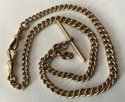 Vtg 18andrdquo 9ct 9k Red Rose Gold Curb Link Albert T Bar Watch Chain Necklace 36.3g