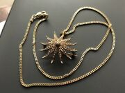 Antique 14ct Gold Natural Seed Pearl 12 Point Star Brooch Pendant With 9ct Chain