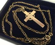 """Vintage 9ct 9k Red Rose Gold Ihs Religious Cross 24"""" Figaro Chain 12.7g Catholic"""