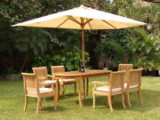 Giva A-grade Teak 7 Pc Dining 94 Oval Table Arm Chair Set Outdoor Patio New