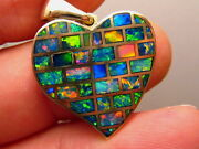 Large Made To Order Heart Opal Pendant Solid 14 K Yellow Gold