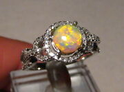 Round Gem Crystal Opal And Diamond Ring 14k White Gold  Size 7 1/4