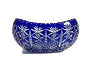 Stunning 12 Vintage Bohemian Cut To Clear Crystal Blue Bowlcenterpiece Mint