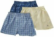 Polo Men's 3-pack Classic Fit Packaged Woven Boxers