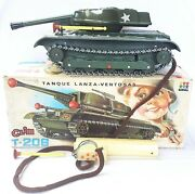 Clim Spain Usa Wwii M47 Battle Tank Plastic Rc Battery Operated Toy Nmb`70 Rare