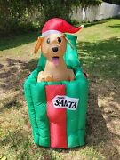 4.5and039 Puppy In Present Led Lighted Animated Gemmy Christmas Inflatable With Box