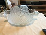 Vintage Frosted Satin Pressed Glass Oval Boat Shaped Flower Bowl Swans Heads