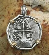 Pirate Coin Treasure Piece Of Eight Hand-struck Authentic 2r Set Ss/14k Pendant