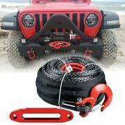 1/2x 92and039 Uhmwpe 22000lbs Synthetic Winch Rope Red Hook + 10 Red Hawse Fairlead